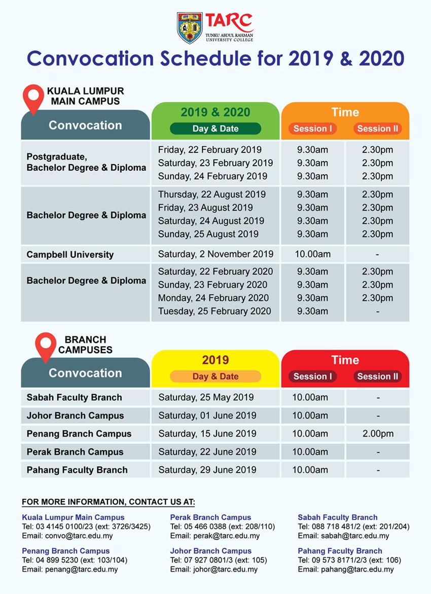 tarc academic calendar 2019